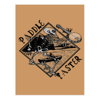 Paddle Faster Skeleton Canoe Postcard