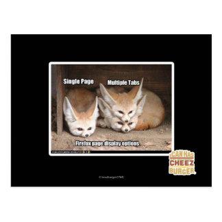 Page display options postcard