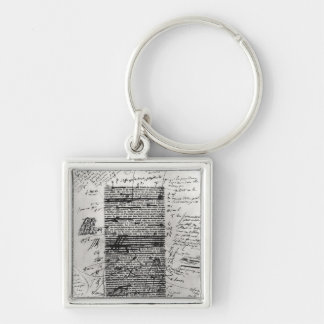 Page from one of Balzac's works Silver-Colored Square Key Ring