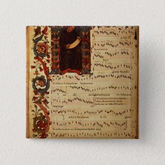Page of Musical Notation with historiated 15 Cm Square Badge