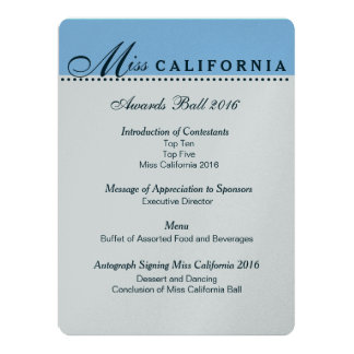 Pageant Awards Ball Program in Metallic Silver 17 Cm X 22 Cm Invitation Card