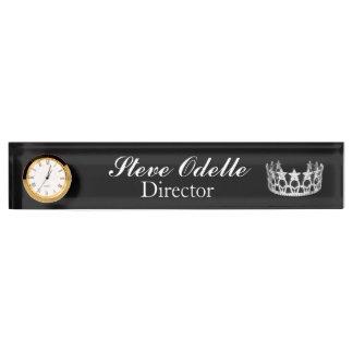 Pageant Custom Clock Desk Nameplate