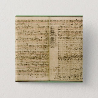 Pages from Score of the 'The Art of the Fugue' 15 Cm Square Badge