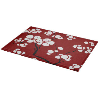 Pagoda Style Glass Cutting Board on Red