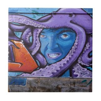 Pain Tentacles Graffiti Small Square Tile