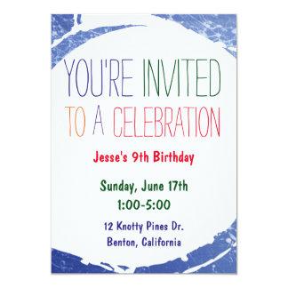 Paint Splatter Invite   Kids Blue Pool Party