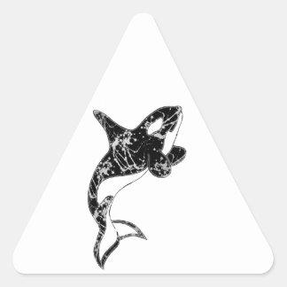 Paint Splatter Orca Art Triangle Sticker