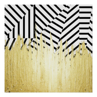 Paint Strokes in Faux Gold on Black & White Stripe Poster