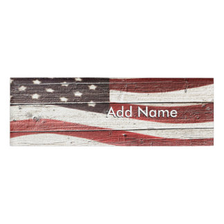 Painted American Flag on Rustic Wood Texture