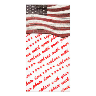 Painted American Flag on Rustic Wood Texture Picture Card