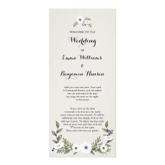 Painted Anemones Wedding Program Full Colour Rack Card