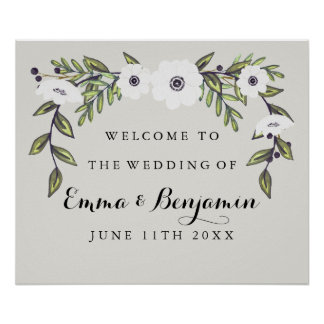 Painted Anemones Wedding Welcome Sign Poster