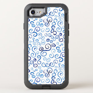 Painted Blue Abstract Curvy Pattern OtterBox Defender iPhone 8/7 Case
