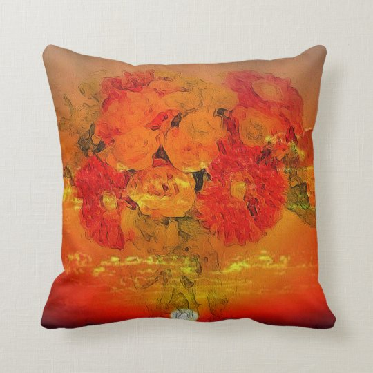 Painted Bouquet of Flowers on Cushion