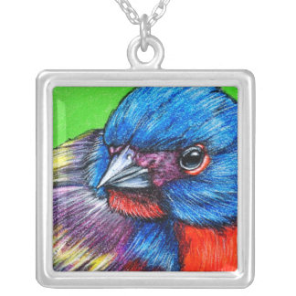 Painted Bunting Bird Art Pendant Necklace