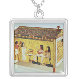 Painted chest with a banquet scene silver plated necklace