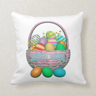 Painted Easter Eggs in Basket Cushion