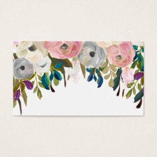 Painted Floral Blank Wedding Table Place Cards. Business Card