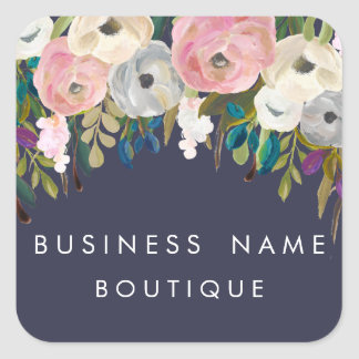 Painted Floral Customisable Business Stickers