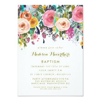 Painted Floral Girls Christening Baptism Invite