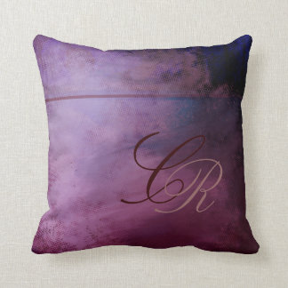 Painted Grunge Monogram Purple Pillow Template