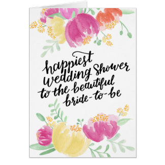 Painted Happiest Shower   Wedding Shower Greeting Card