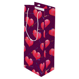 Painted Hearts and Arrows | Valentine's Day Wine Gift Bag