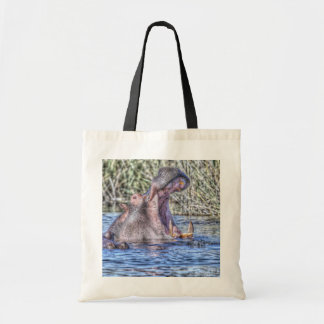 painted hippo tote bag