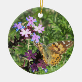 Painted Lady Butterfly on Purple Flowers Round Ceramic Decoration