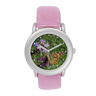 Painted Lady Butterfly on Purple Flowers Watches
