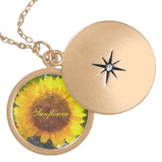 """""""Painted"""" Orange Gold Sunflower Round Locket Necklace"""