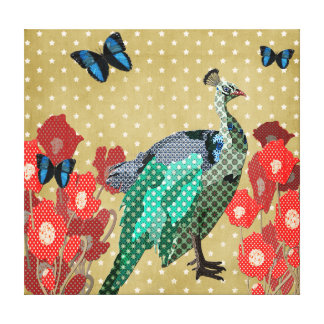 Painted Peacock & Peonies Gold Canvas Gallery Wrap Canvas