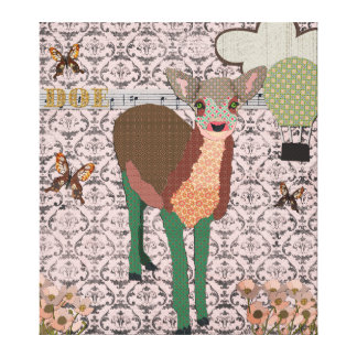 Painted Pink Doe Art Canvas Gallery Wrapped Canvas