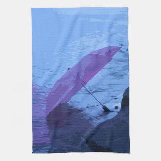 Painted Pink umbrella Kitchen tea Towel