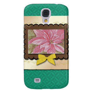 Painted Poinsettia Christmas Flower Galaxy S4 Case