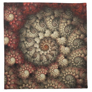 """Painted Roses"" Red and White Spiral Fractal Printed Napkin"