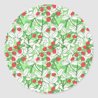 Painted Strawberry Pattern Classic Round Sticker