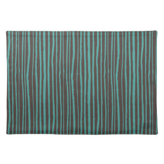 Painted Teal Stripes on Dark Brown Placemat