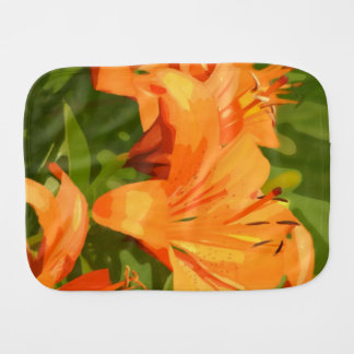 Painted Tiger Lily Burp Cloth