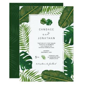 Painted Tropical Leaves Beach Wedding Card