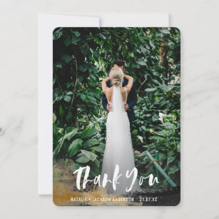 Painted tropical photo thank you card
