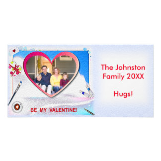 """Painted Valentine Heart 8"""" x 4"""" Photo Card"""