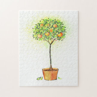 Painted watercolor citrus tree in pot jigsaw puzzle