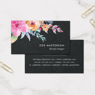 Painted Watercolor Floral | Black Business Card