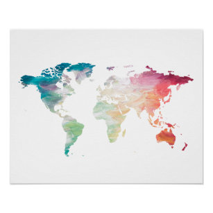 Map posters zazzle painted world map poster gumiabroncs Images