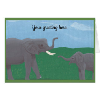 Painting Mother and Child Elephants Greeting Cards