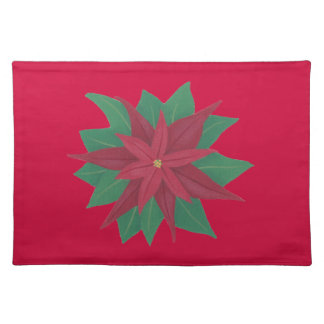 Painting of a Poinsettia Flower Christmas Placemat