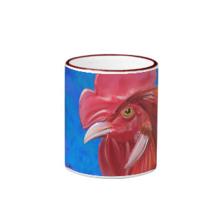 Painting of a Red Rooster in Vibrant Colors Mugs