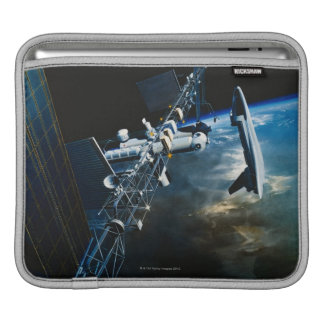 Painting of a Space Station Above Earth iPad Sleeve
