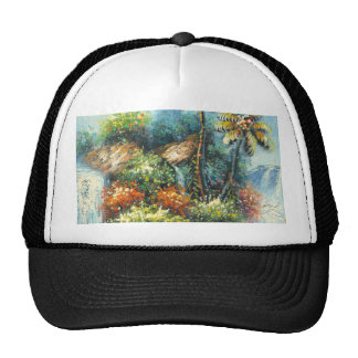 Painting Of A Tropical Waterfall Cap